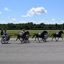 Youth harness racing in action.