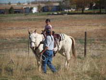 Young girl learning to ride on an Appaloosa horse.