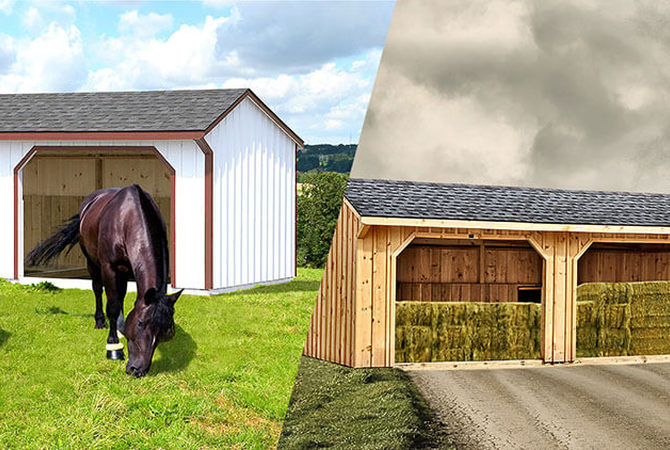 A Horizon Structures run-in sheds for horses