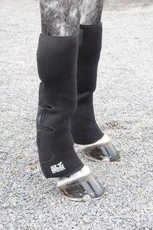 Ice boots on horse's legs.