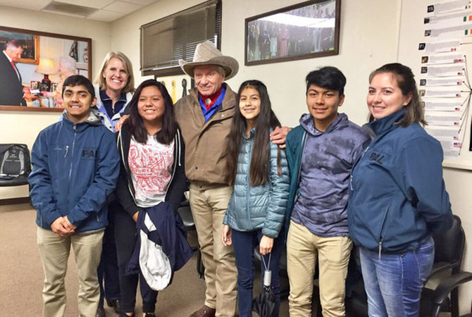 Monty Roberts with Lead-Up group of young men and women.
