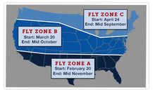Fly map showing horse fly areas and dates in US.