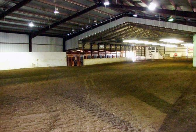An indoor horse arena.