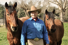 Monty Roberts with two mustangs.