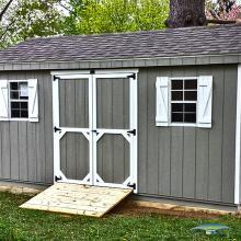 A-Frame storage shed for horse supplies.