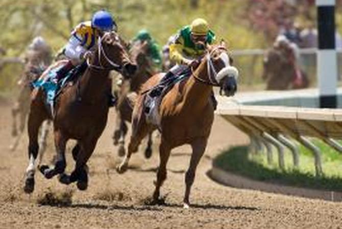Horses racing during a spring meet at Keeneland.