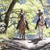 Women riding horses on country trail.