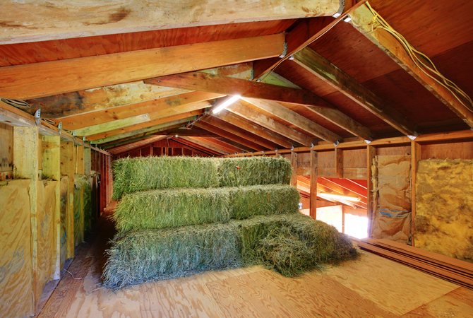 Small supply of hay stored in hay loft.