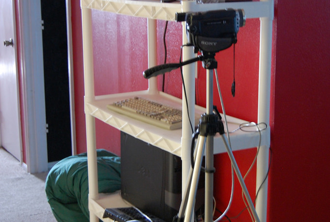 Video monitoring equipment for monitoring mare and new foal.