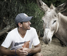 Vet with donkey in Guatemala