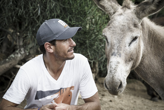 Veterinarian with a donkey in Guatemala.